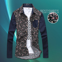 Flower floral slim fit casual men clothing men's blusas roupas camisas camisetas masculinas chemise homme hombre shirt shirts