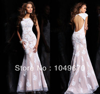 Haute Couture 2014 Cap Sleeves Lace Prom Dresses Mermaid Crystal Floor Length Open Back Formal Evening Masquerade Gowns N013
