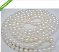 "natural Round south sea AAA 9-10mm white pearl necklace 49"" 14K"