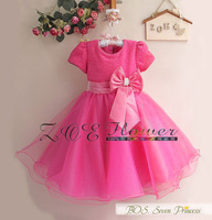 2014 new short sleeve full dress paillette bowknot Dress Girls Princess Party Bow Kids Formal Dress children party dress BOS.410