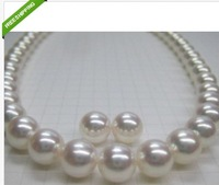"NATURAL 18"" 11-12 MM SOUTH SEA WHITE PEARL NECKLACE 14K + EARRING"