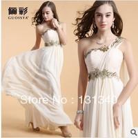 2014 Latest Designs Prom Long Chiffon Flower Evening Dress Zipper One shoulder Evening gown Free shipping