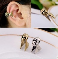 David jewelry wholesale E245  fashion accessories vintage personality earrings skull no pierced copper earrings female