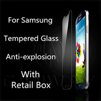 0.4mm plane Tempered Glass Anti-explosion With Retail Box For samsung galaxy s4 mini Screen Protector For samsung free shipping