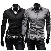 2013 Hot Sale Free Shipping New Mens Shirts Casual Slim Fit Stylish Cotton Full-Sleeve Men Shirt Big Size M L XL XXL XXXL
