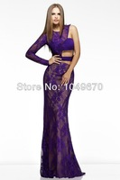 Sexy One Shoulder Prom Dresses With Long Sleeve Floor Length Hollow Lace Evening Dress Long Mermaid Masquerade Gowns N300
