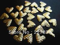 6mm total 100 PCS SUPER NEWESTgold color heart 3d nail art studsMetal decoration Decal Free shipping