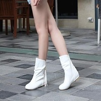 Boots female spring and autumn boots flat heel tassel flat autumn shoes women's single 2013 white