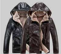 Winter male genuine leather fur clothing male hooded one piece leather jacket liner berber fleece