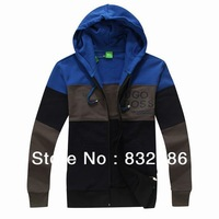 Free shipping size M-XXL 2014 fashion brand men thicker cotton terry patchwork hoodie zipper opening men sweatshirt MWJ13035