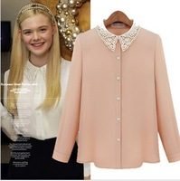 2014 autumn fashion cutout embroidered beaded fashion long-sleeve chiffon shirt female top 9018
