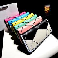 Zipper patchwork color block long casual design women's wallet clutch hot selling lady purse