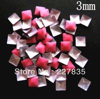 3mm total 100 PCS SUPER NEWEST rose pink 3d nail art studs square  Metal decoration Decal