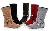 Free shipping,Fashion bow lovely Style BIG Biwte Rhinestone Mid Calf Faux suede boots Flat women's shoes big size Eru size 35-45
