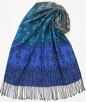 Free Shipping 70*174CM+8*2CM Fringe Musical Note Design Womens Fashion Polyester Pashmina Scarf