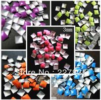 3mm total 500 PCS SUPER NEWEST 5 colors 3d nail art studs square  Metal decoration Decal