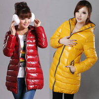 Free Shipping[ Gang fight in the Korean version of the long section down cotton hooded women's glossy padded woman ! 824 #