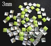 3mm total 100 PCS SUPER NEWEST light green 3d nail art studs square  Metal decoration Decal