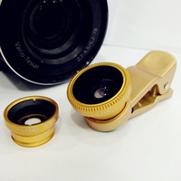 3 in 1 Golden Universal Clip-On Fish Eye Lens+Wide Angle+Macro Lens For For Iphone Samsung Note 2 N7100 S4 i9500 Free Shipping