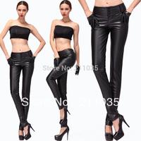 Women plus size autumn winter plus velvet waist pu leggings pants slim harem trousers,R93,DY,G503,82013 82012#