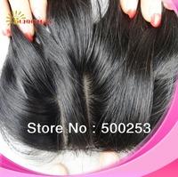 "Silk Base Top Closure In Stock! human Hair product!Natural Straight Malaysian Hair Silk base Lace Closure 10"" -20"" 4x4 Color1B"