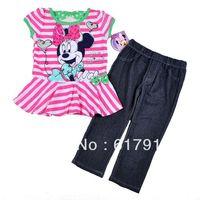 wholesale lot 2014 Summer New Brand Kids clothes sets Girls Cartoon Minnie Mouse Clothing Sets children's Stripe T-shirt +Pants