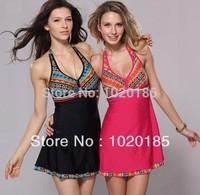 Ladies Large plus size swimwear women swimsuit swimming dress one piece beach wear free shipping