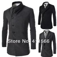 Gentleman Men's Winter Business Casual Trench Coats Fashion Single Breasted Slim Fit Jackets Woolen Overcoats Free Shipping