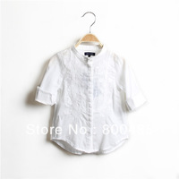 hot sell children Embroidery long sleeve  blouse  for girl kids shirt white