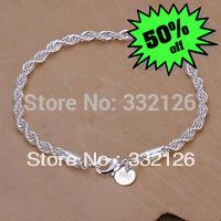 JH207 Lowest price Wholesale 925 sterling silver bracelet jewelry, 925 solid silver fashion jewelry Twisted Line Bracelet