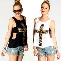 Cross leopard print two-piece vest