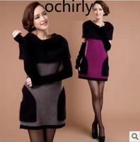 Ochirly sweater medium-long marten velvet autumn and winter one-piece dress 2013 women's pullover sweater thickening