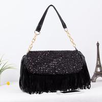 2013 black chain tassel paillette bag bucket handbag one shoulder cross-body fashion female handbag