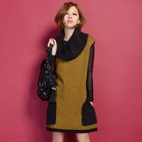 Sleeveless one-piece dress 2013 marten velvet knitted sweater wool dress