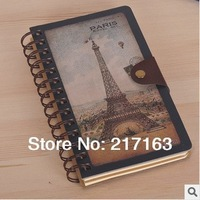 Free shipping lenwa 2753k notepad hardcover paper 98 sheets gift mixed color vintage coil eiffel tower the coil notebook notepad