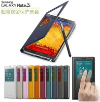 1pc Original Quality Official Case Call ID Writing Window leather Filp Cover case for galaxy note 3 N9000 With NFC