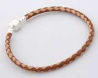 Pl006 925 pure silver jewelry silver buckle fancy knitted powder brown genuine leather bracelet chain bracelets