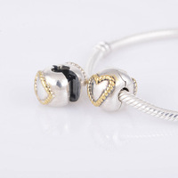 Kt079-n love gold cord lock DIY 925 pure silver jewelry beads charms beads