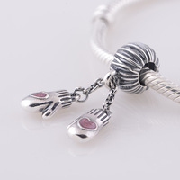 Lw327 DIY 925 pure silver thread beads love pink gloves Christmas gift charms