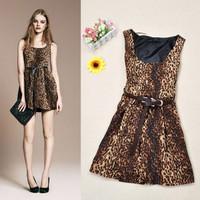 2014 Free Shipping Leopard Dress Vestidos Casual Vintage Print Sexy Dress Club Wear