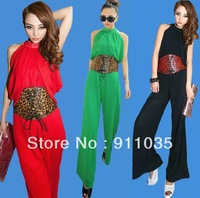 Free shipping/  Europe and the United States fan backless wide-legged jumpsuits jumpsuit