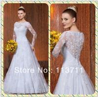 Beautiful High Neck Button Back  Sweep Train Lace Long Sleeve Winter Wedding Dress
