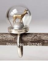 Free Ship! *set* 20sets/lot 20mm (12mm opening) Glass globe & 12mm ring base set glass bottle vials pendant DIY