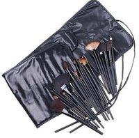 HOT!Arrived Professional 24 PCS Metal Handle Makeup Brush Set tools Make up Toiletry Kit Wool Brand Brushes Set Black PU bag