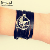 Artilady hotsale The Hunger Games bracelet black leather ridicule bird bracelet women jewelry
