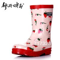 Free shipping 2014 new arrive high Quality rubber fashion female child cartoon rain boots girls' wellies