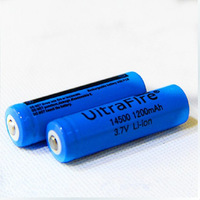 2Pcs/Lot UltraFire 14500 ( AA Battery ) 1200mAh 3.7V Protected Rechargeable li-ion Battery For flashlight 14500 - Free shipping