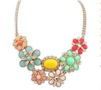 Free Shipping Hot Sale! 2014 New Fashion Bohemian Women Rhinestone Resin Flower Necklaces & Pendants Chain Long Choker Necklace