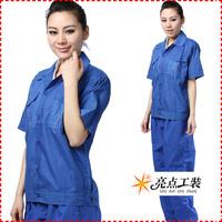 20sets [Free ship] Work wear male short-sleeve work wear set female skin sweat absorbing  factory uniforms full sets