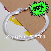 JH164 Lowest price Wholesale 925 sterling silver bracelet & bangle jewelry, 925 silver new jewelry Flat Snake Bone Bracelet